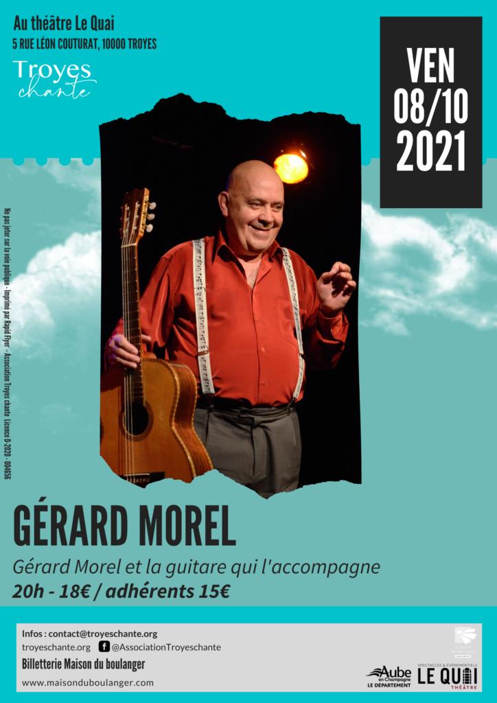 Gérard Morel et la guitare qui l'accompagne en concert le 8 octobre au Théatre le Quai
